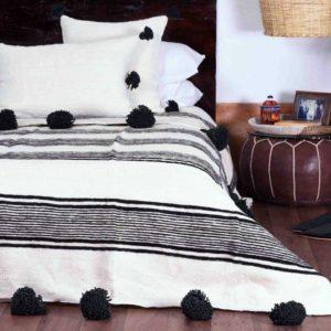 Moroccan Wool Pom Pom Blanket - B&W 1