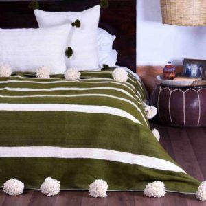 Moroccan Wool Pom Pom Blanket (Hemlock)