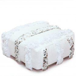 Small Handira Wedding Floor Pouf - White